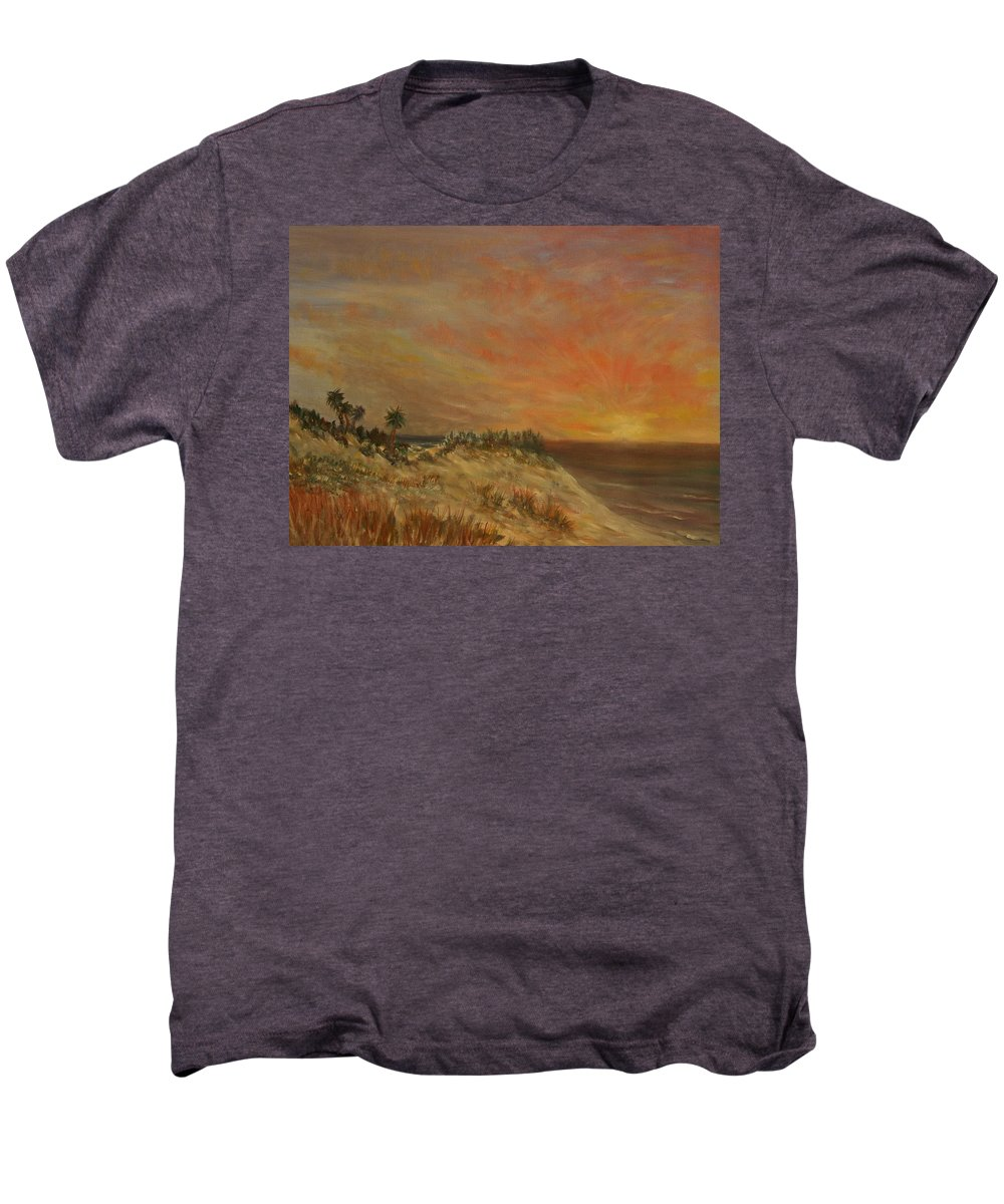 Sunset;beach;ocean;palm Trees Men's Premium T-Shirt featuring the painting Island Sunset by Ben Kiger