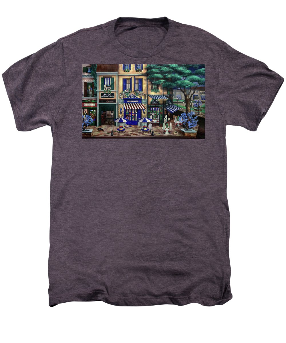 Italian Men's Premium T-Shirt featuring the mixed media Italian Cafe by Curtiss Shaffer