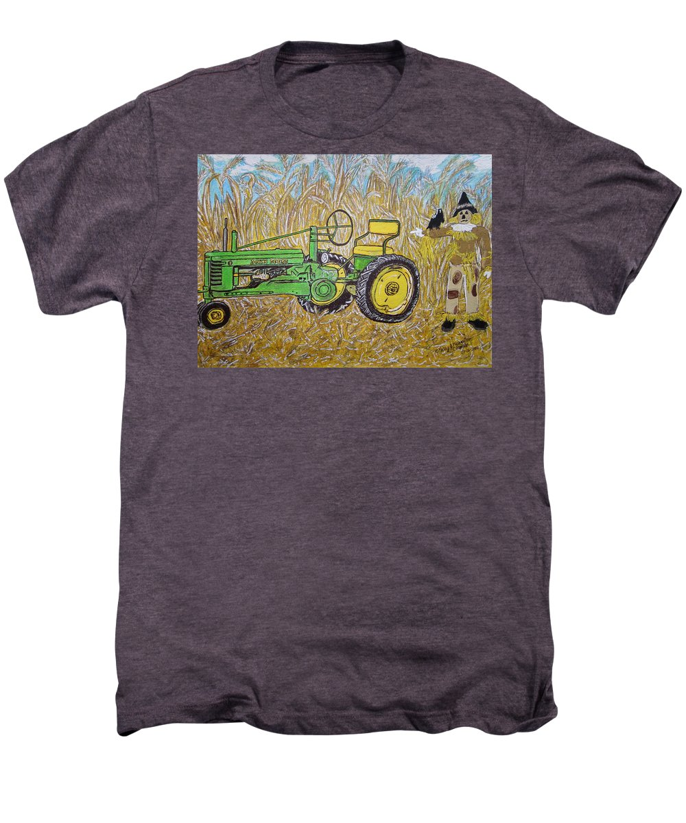 John Deere Men's Premium T-Shirt featuring the painting John Deere Tractor And The Scarecrow by Kathy Marrs Chandler