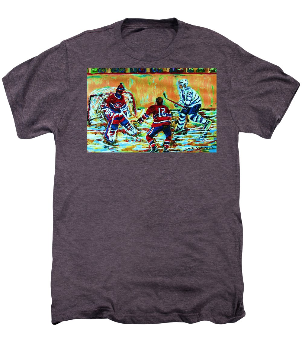 Hockey Canvas Prints Men's Premium T-Shirt featuring the painting Jose Theodore The Goalkeeper by Carole Spandau