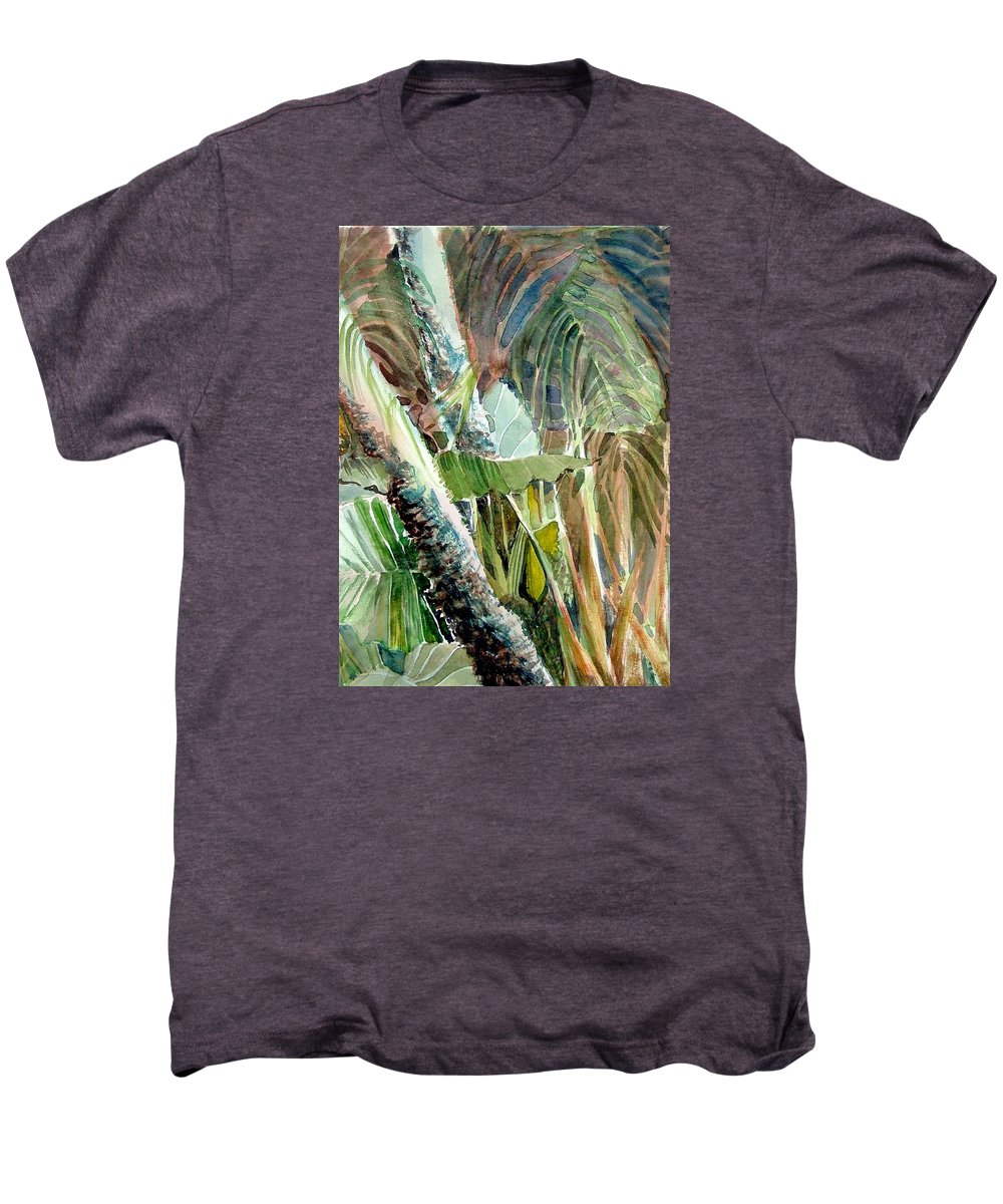 Palm Tree Men's Premium T-Shirt featuring the painting Jungle Light by Mindy Newman