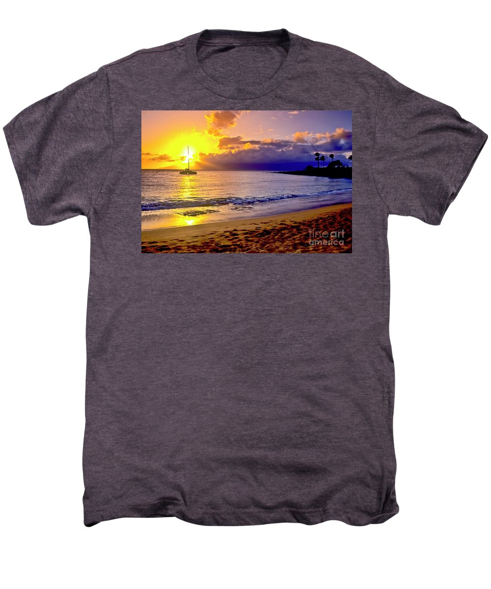 Scenics Men's Premium T-Shirt featuring the photograph Kapalua Bay Sunset by Jim Cazel