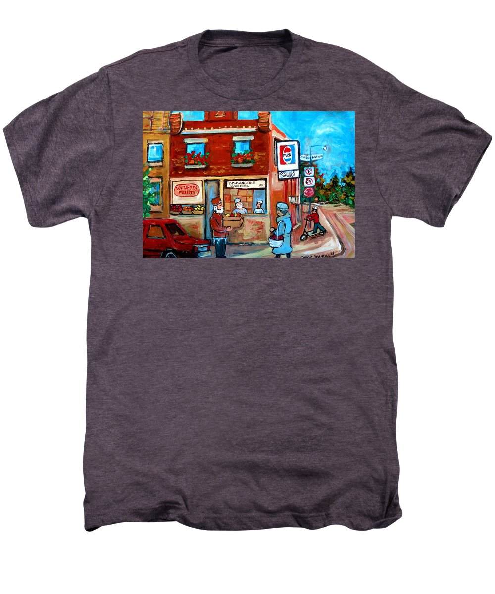 Kosher Bakery Men's Premium T-Shirt featuring the painting Kosher Bakery On Hutchison Street by Carole Spandau