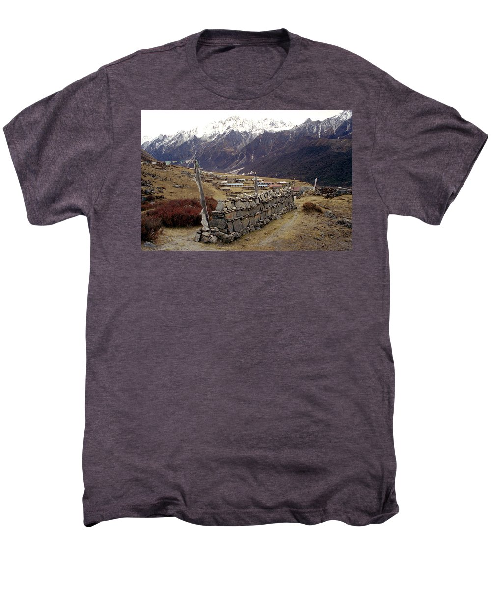 Langtang Men's Premium T-Shirt featuring the photograph Kyanjin Gompa by Patrick Klauss