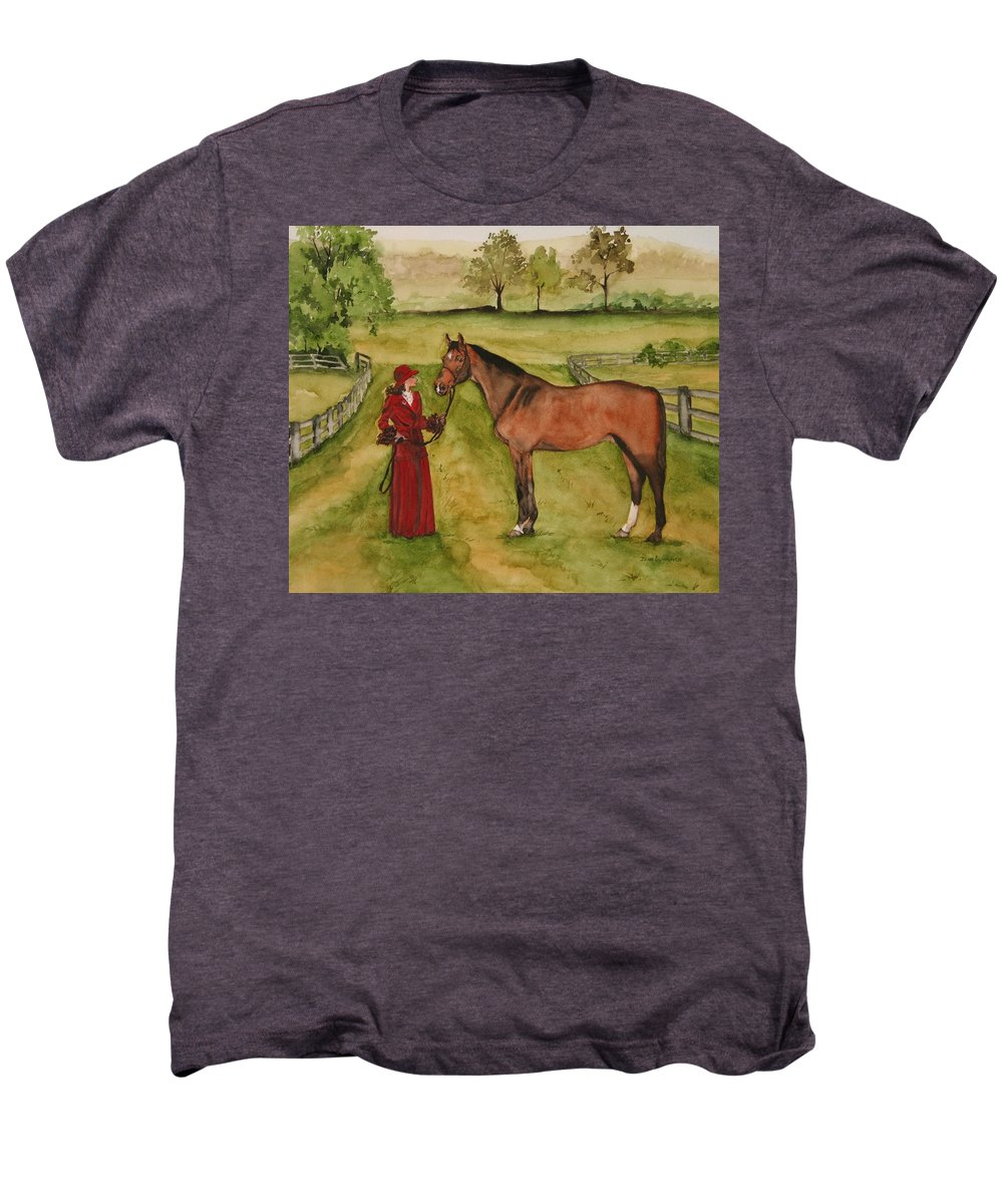 Horse Men's Premium T-Shirt featuring the painting Lady And Horse by Jean Blackmer