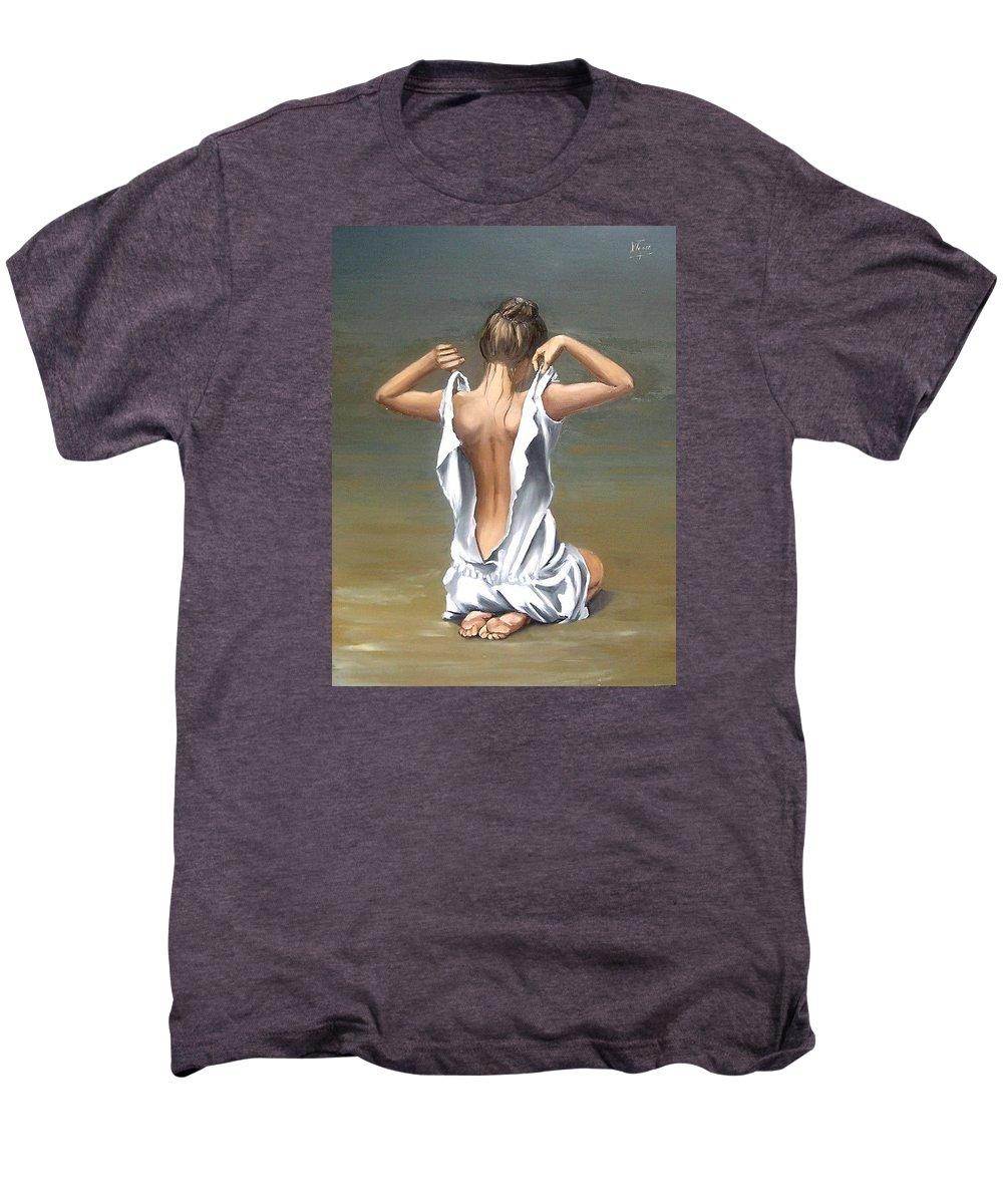 Lady Girl Woman Figurative Figure Nude Portrait Fine Art Female Men's Premium T-Shirt featuring the painting Lady by Natalia Tejera