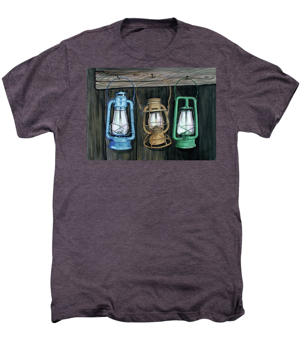 Lanterns Men's Premium T-Shirt featuring the painting Lanterns by Ferrel Cordle