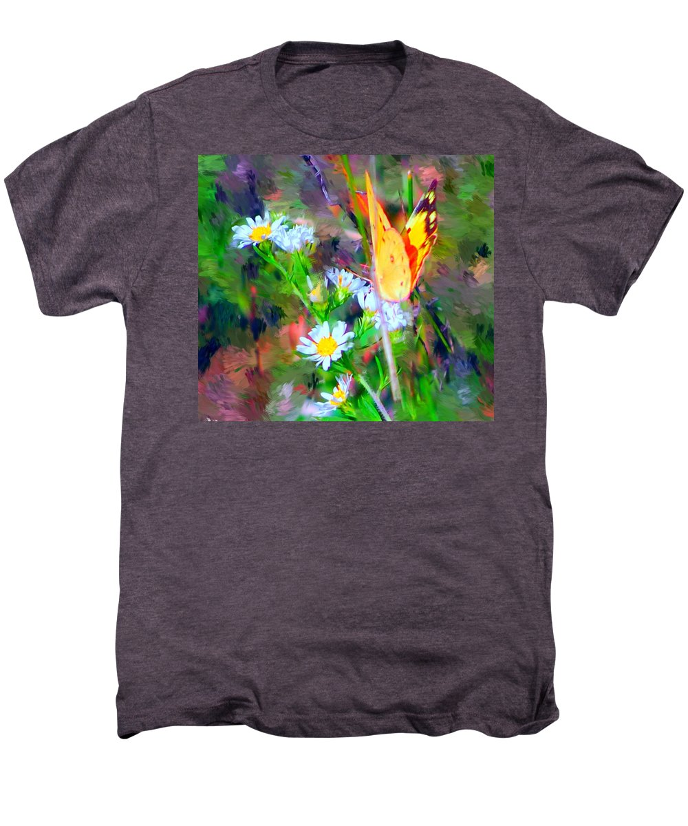 Landscape Men's Premium T-Shirt featuring the painting Last Of The Season by David Lane