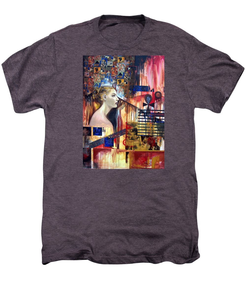 Profile Of A Woman Men's Premium T-Shirt featuring the painting Life In The Past by Leyla Munteanu