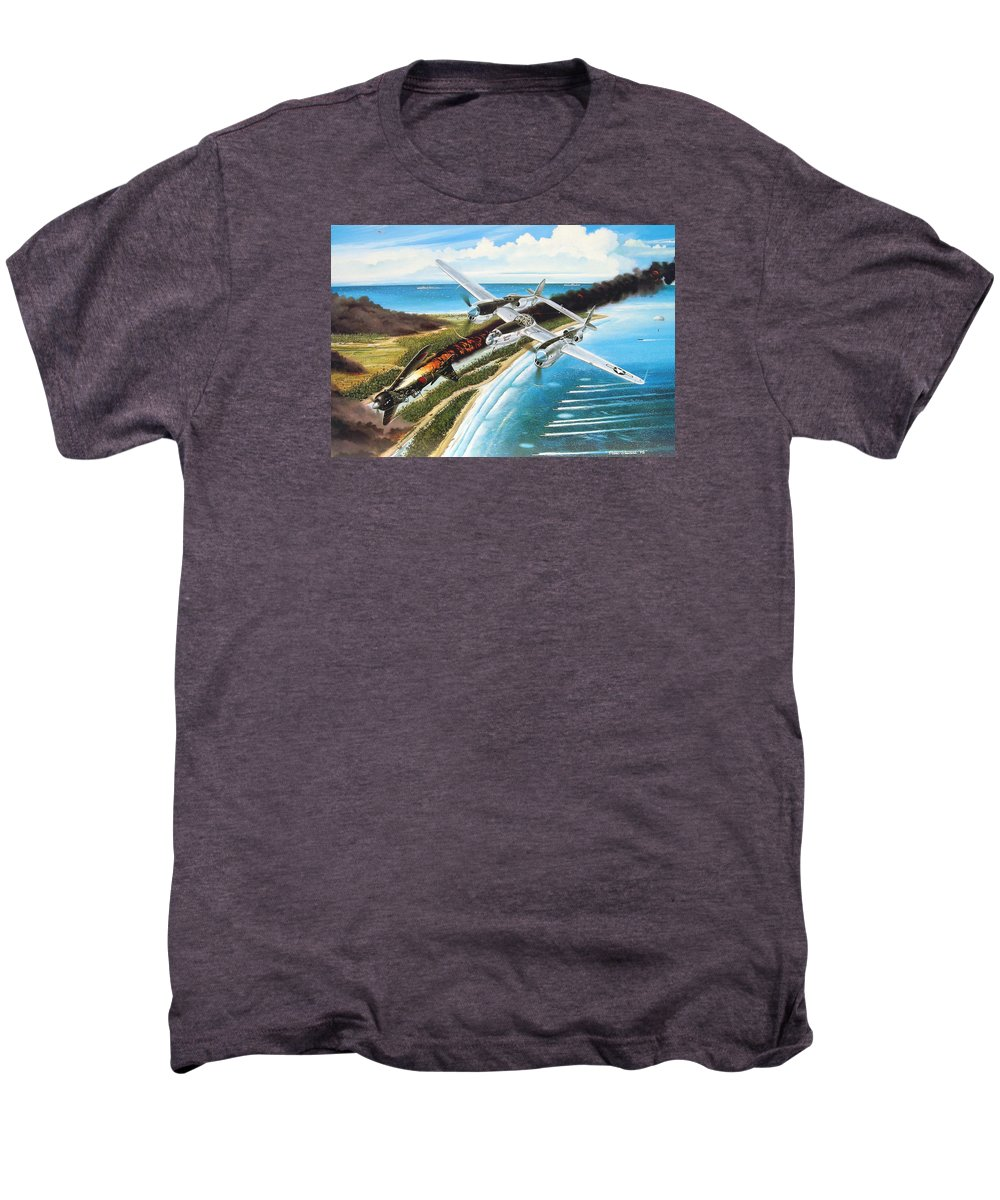 Aviation Men's Premium T-Shirt featuring the painting Lightning Over Mindoro by Marc Stewart