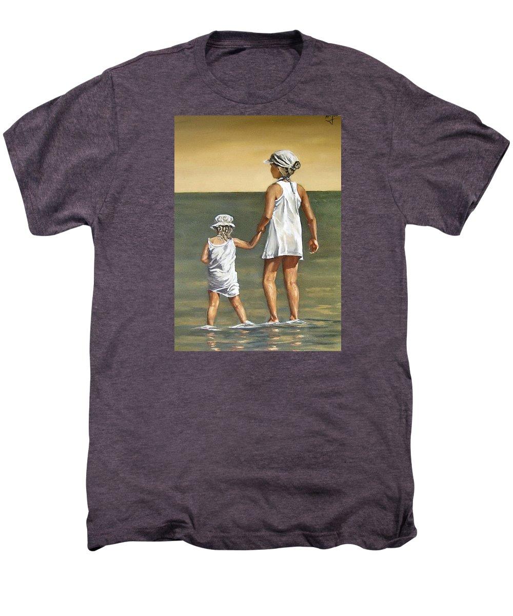Little Girl Reflection Girls Kids Figurative Water Sea Seascape Children Portrait Men's Premium T-Shirt featuring the painting Little Sisters by Natalia Tejera