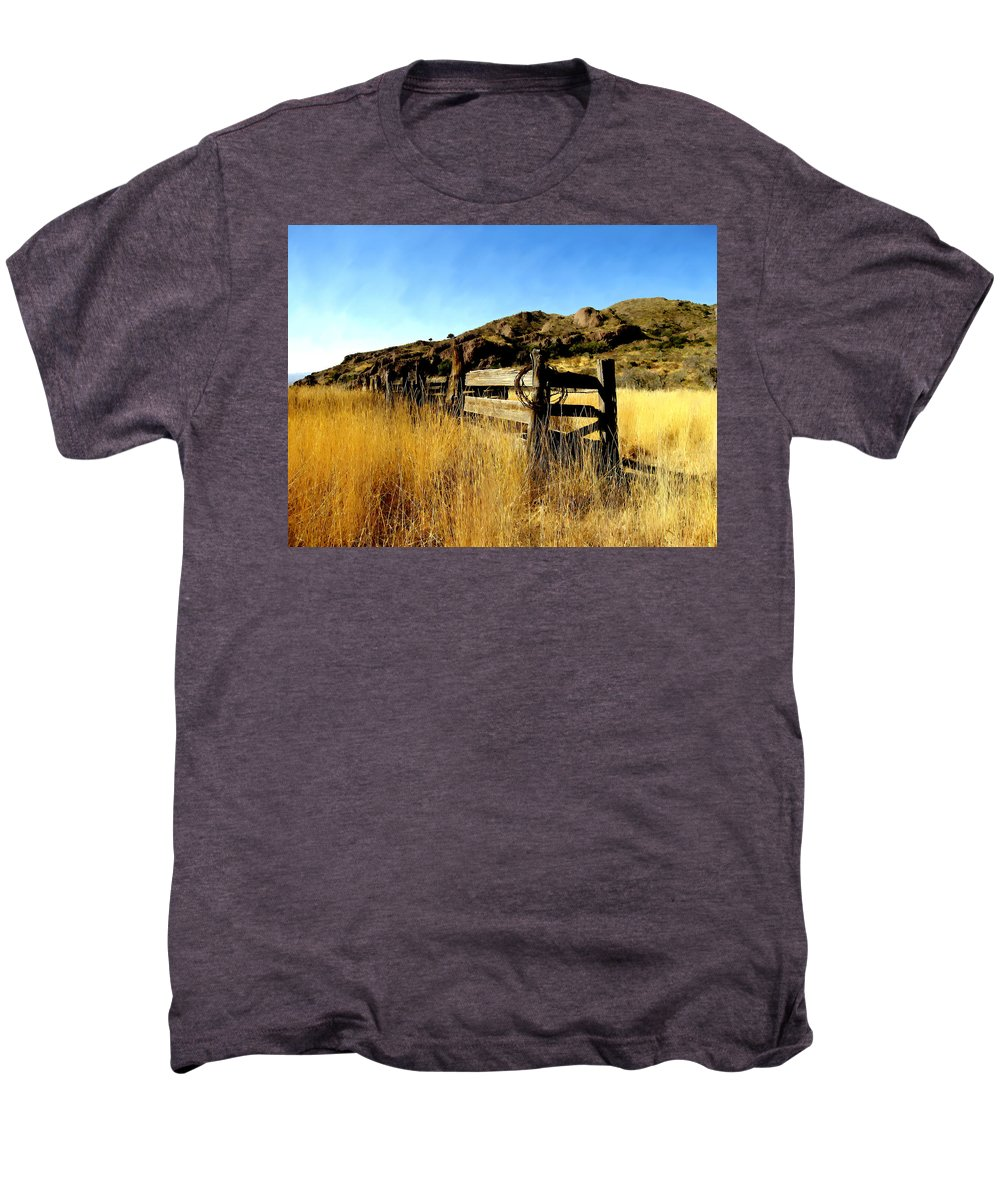 Southwestern Men's Premium T-Shirt featuring the photograph Livery Fence At Dripping Springs by Kurt Van Wagner