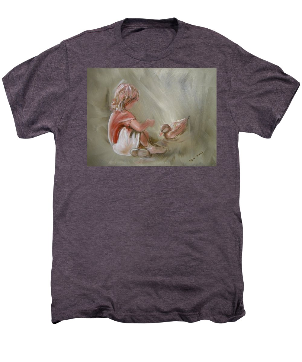 Girl Men's Premium T-Shirt featuring the painting Lunch Pals by Regina Walsh