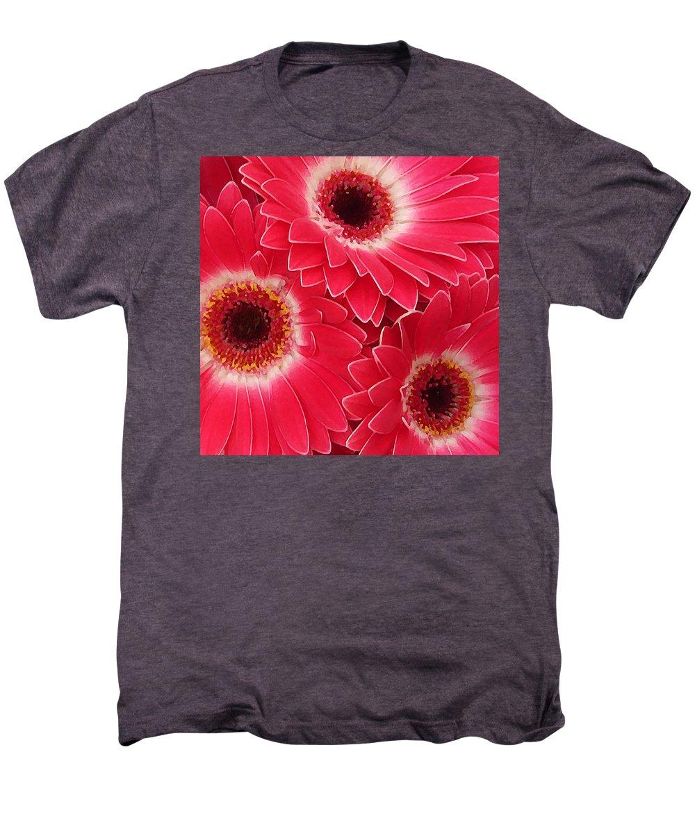 Daisy Men's Premium T-Shirt featuring the painting Magenta Gerber Daisies by Amy Vangsgard