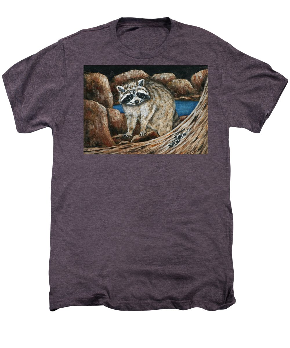 Racoon Men's Premium T-Shirt featuring the painting Mama Racoon by Ruth Bares