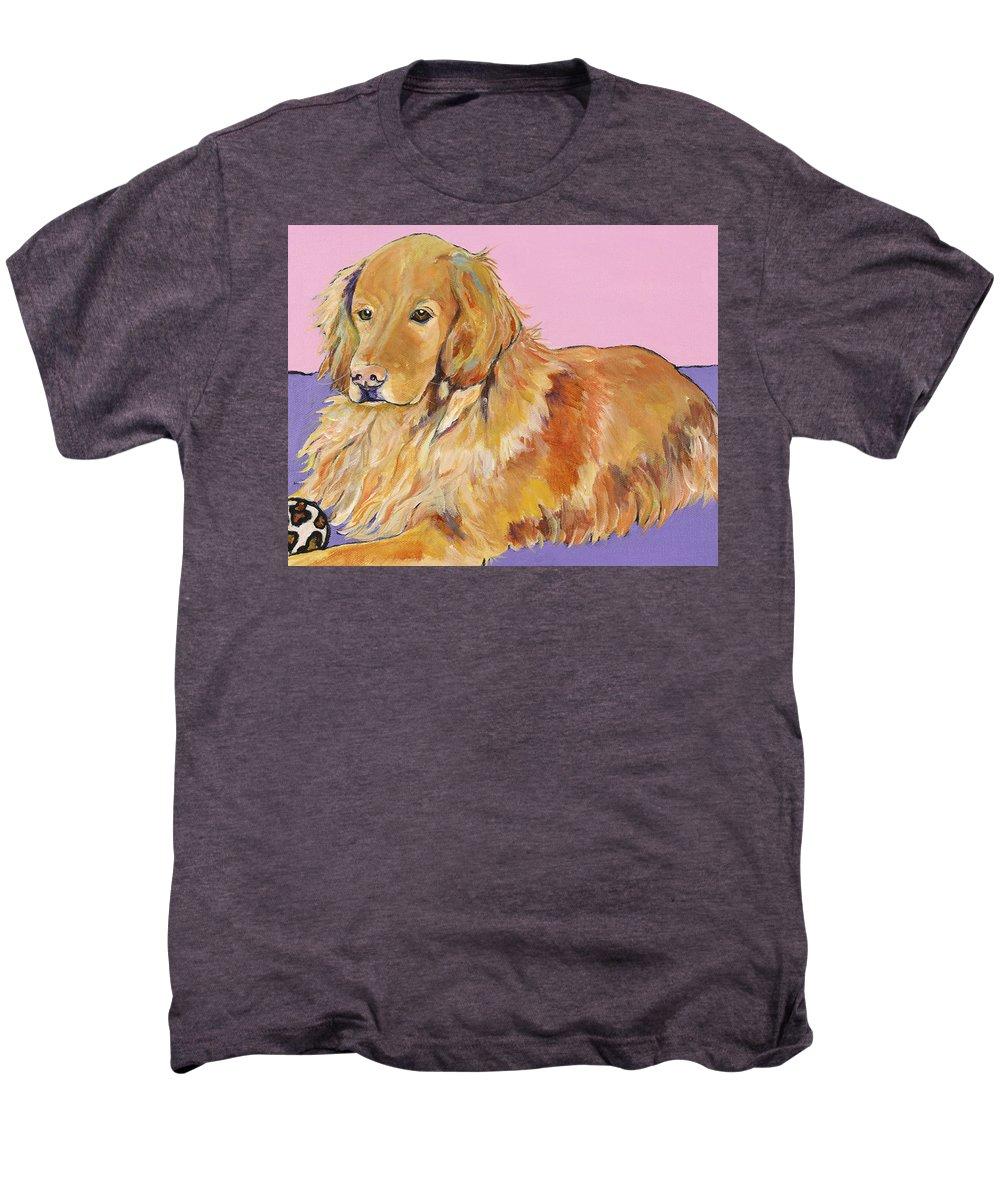 Golden Retriever Men's Premium T-Shirt featuring the painting Maya by Pat Saunders-White