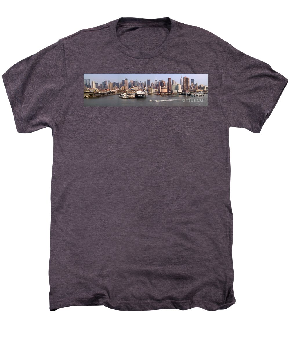 Manhattan Men's Premium T-Shirt featuring the photograph Midtown Manhattan Panorama by Thomas Marchessault