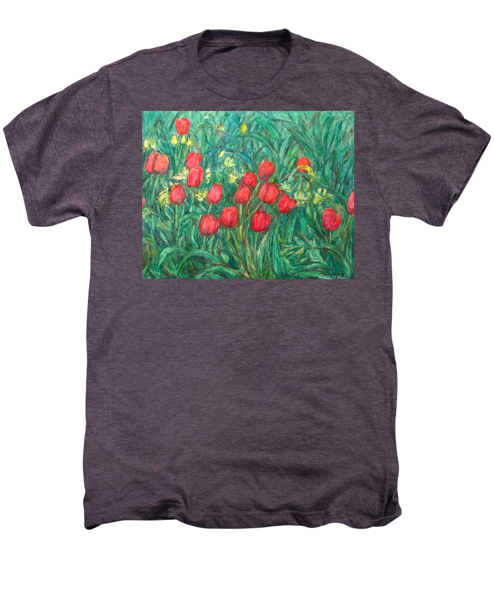 Kendall Kessler Men's Premium T-Shirt featuring the painting Mostly Tulips by Kendall Kessler