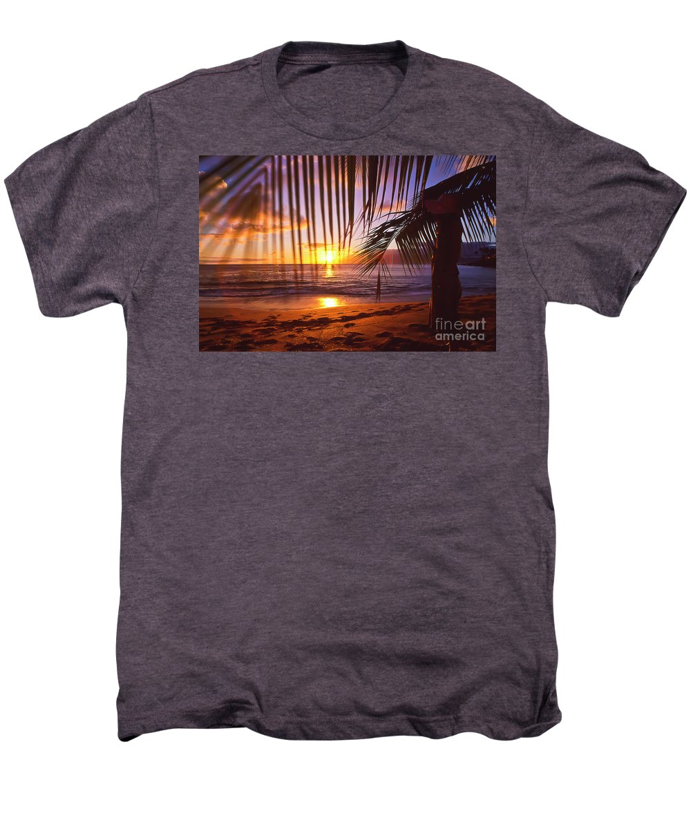 Sunset Men's Premium T-Shirt featuring the photograph Napili Bay Sunset Maui Hawaii by Jim Cazel