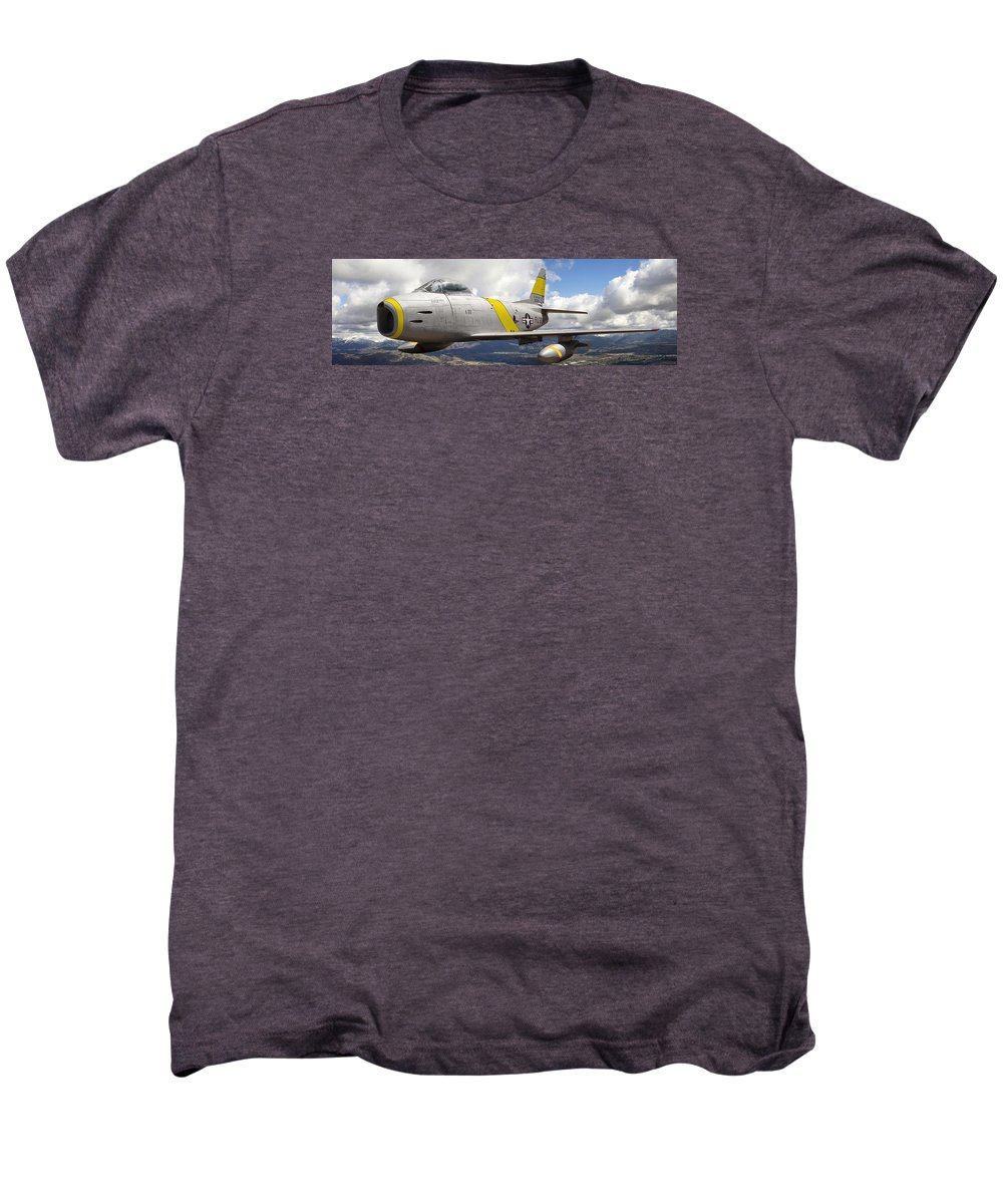 F-86 Sabre Men's Premium T-Shirt featuring the photograph North American F-86 Sabre by Larry McManus