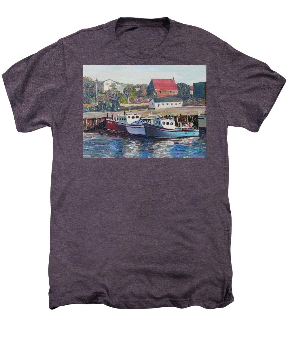 Nova Scotia Men's Premium T-Shirt featuring the painting Nova Scotia Boats by Richard Nowak