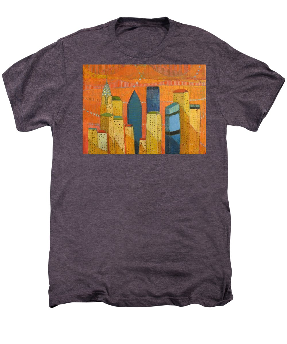 Abstract Cityscape Men's Premium T-Shirt featuring the painting Nyc With Chrysler by Habib Ayat