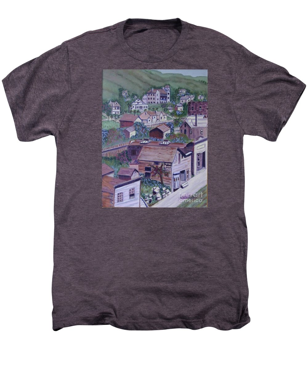 Ventura Men's Premium T-Shirt featuring the painting Old Ventura by Laurie Morgan