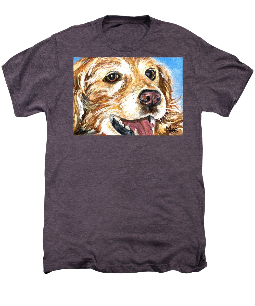 Charity Men's Premium T-Shirt featuring the painting Oliver From Muttville by Mary-Lee Sanders