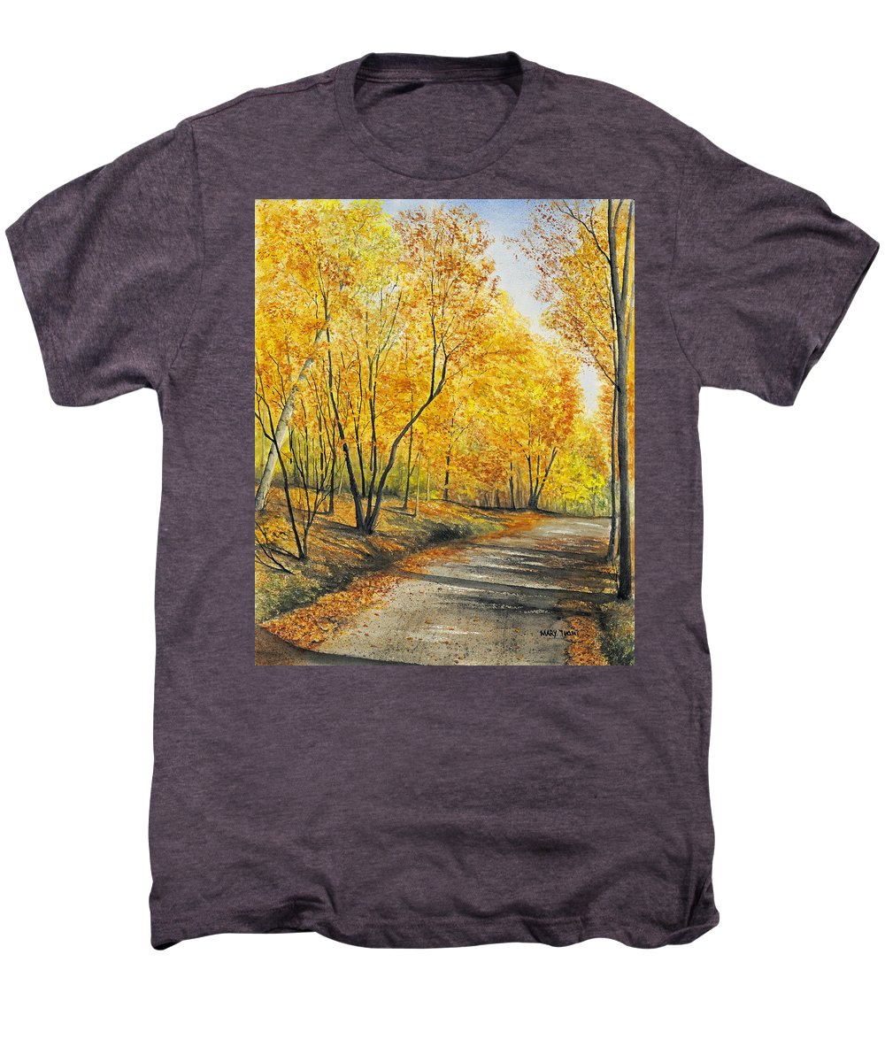 Autumn Men's Premium T-Shirt featuring the painting On Golden Road by Mary Tuomi
