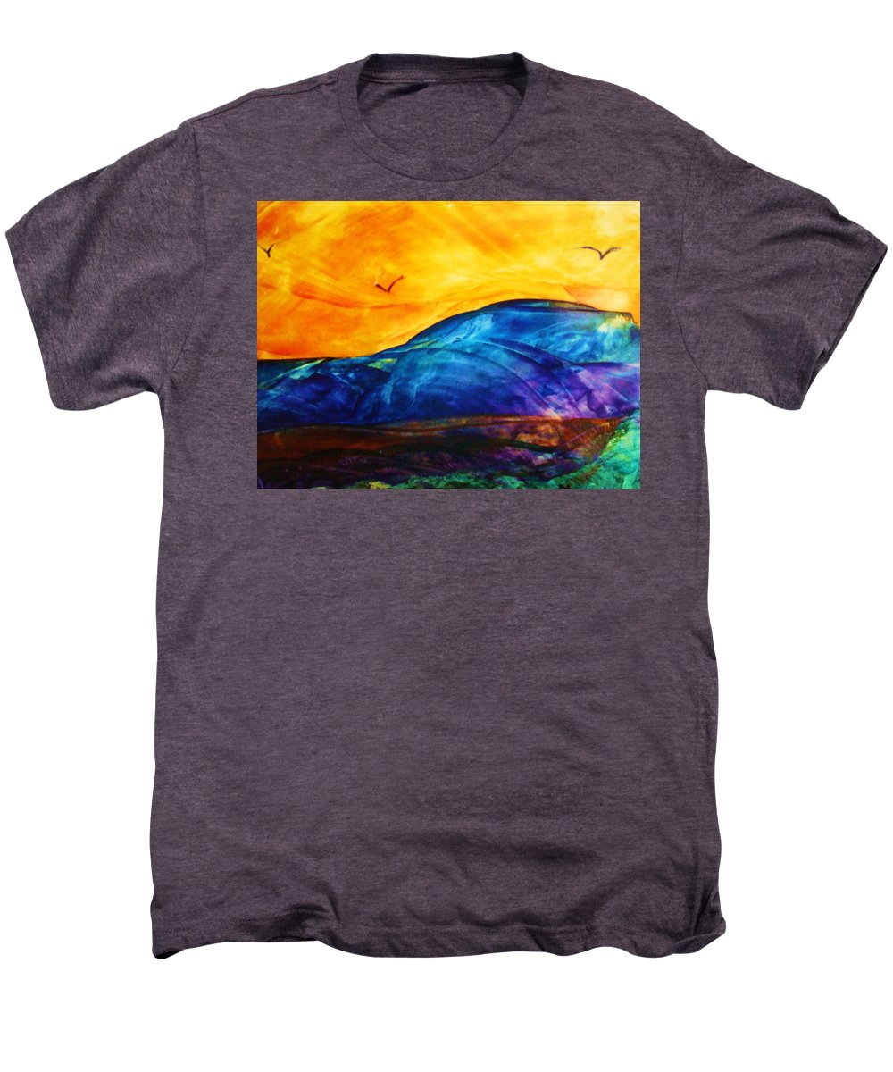 Landscape Men's Premium T-Shirt featuring the painting One Fine Day by Melinda Etzold