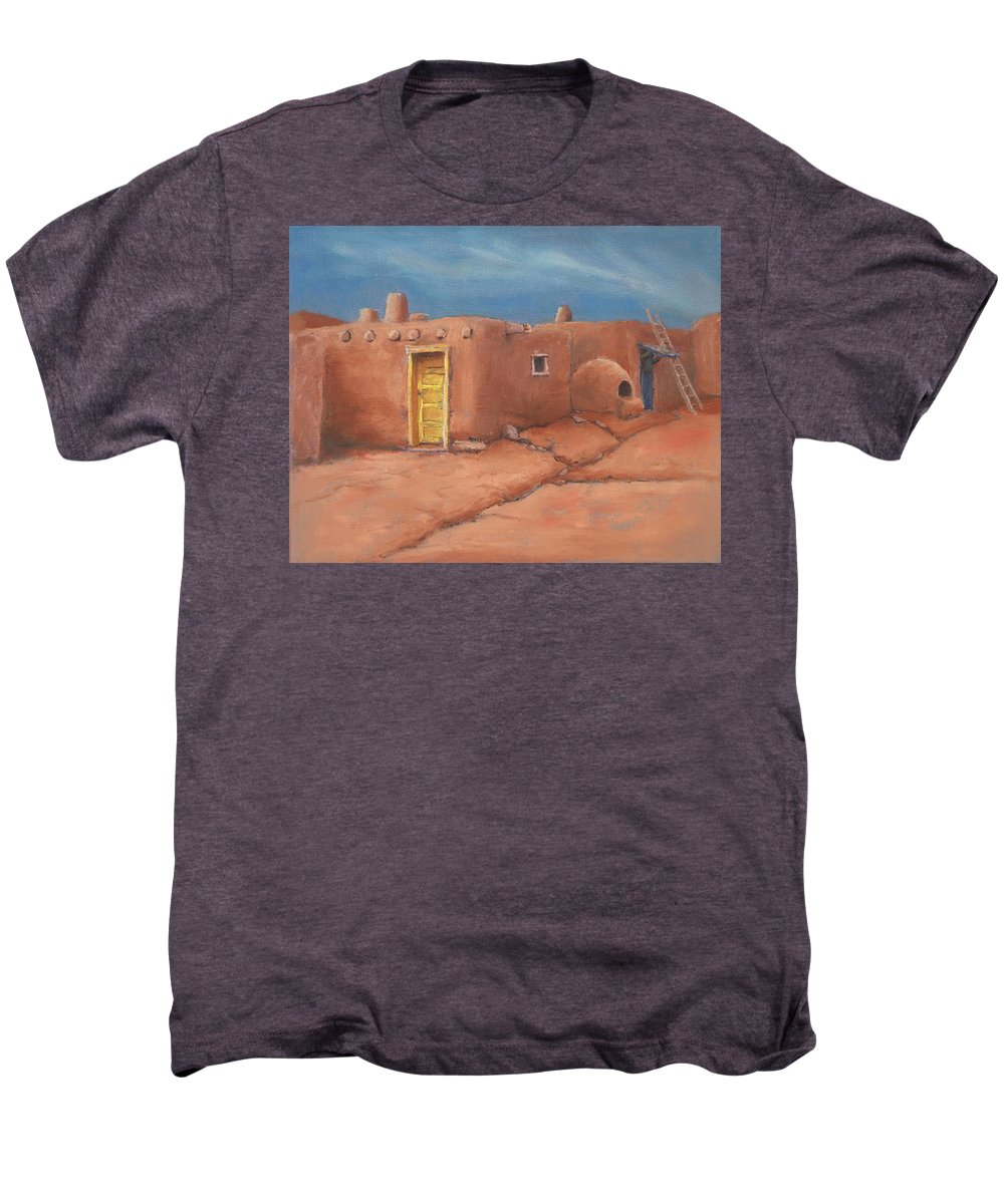 Taos Men's Premium T-Shirt featuring the painting One Yellow Door by Jerry McElroy