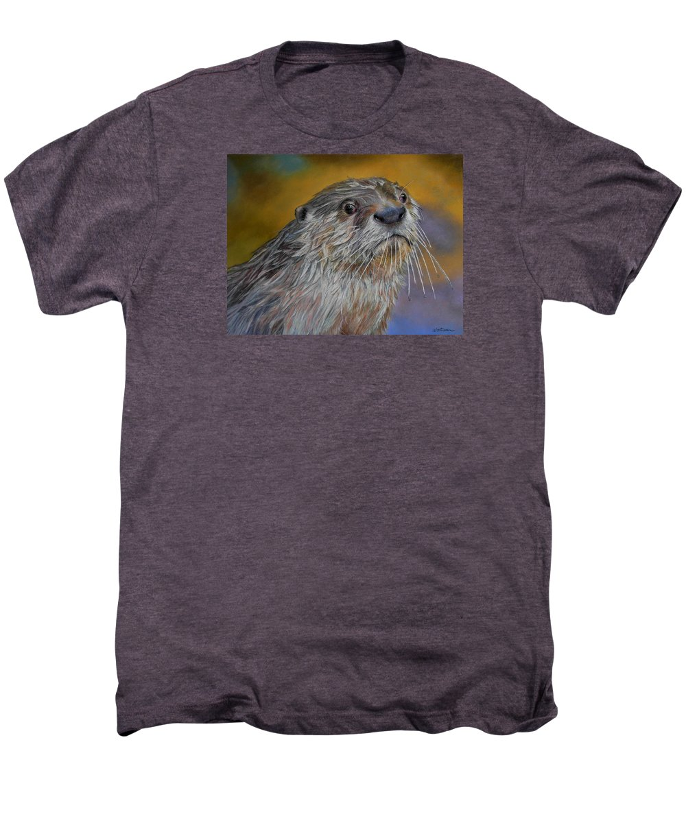 River Otter Men's Premium T-Shirt featuring the painting Otter Or Not by Ceci Watson