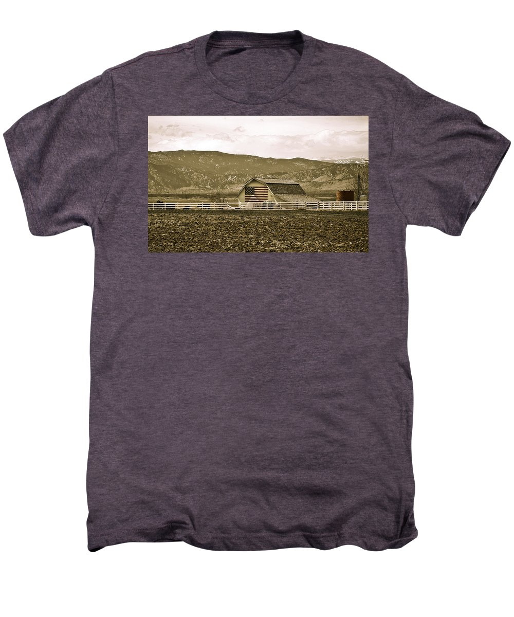 Americana Men's Premium T-Shirt featuring the photograph Patriotism And Barn by Marilyn Hunt