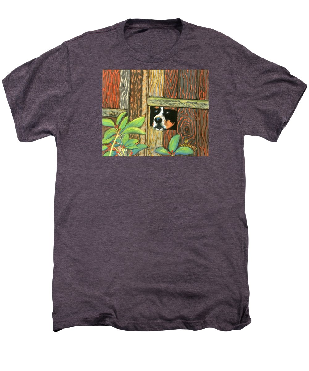 Dog Men's Premium T-Shirt featuring the painting Peek-a-boo Fence by Minaz Jantz