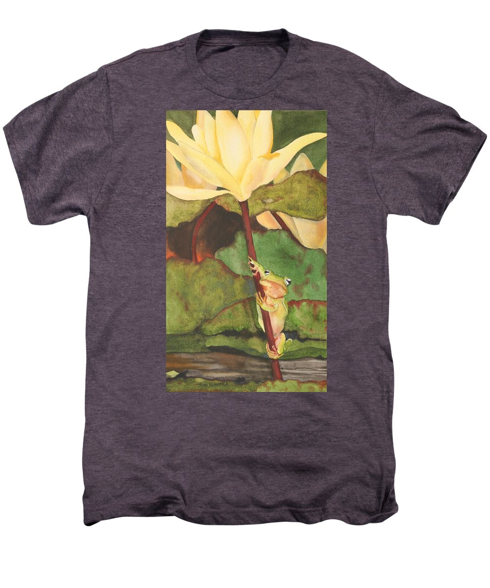 Frog Men's Premium T-Shirt featuring the painting Peeping Tom by Jean Blackmer