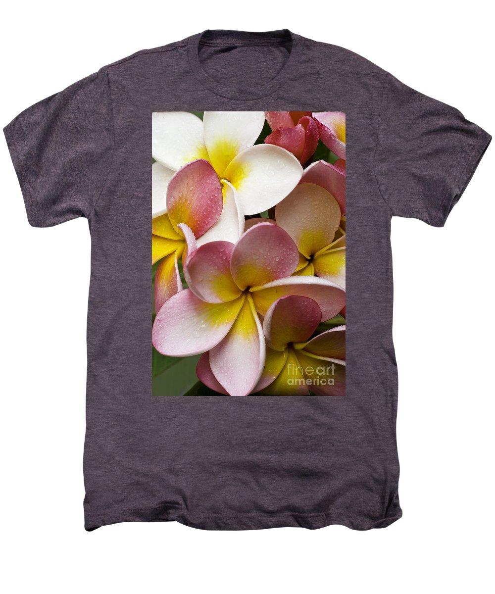 Pink Frangipani Men's Premium T-Shirt featuring the photograph Pink Frangipani by Avalon Fine Art Photography