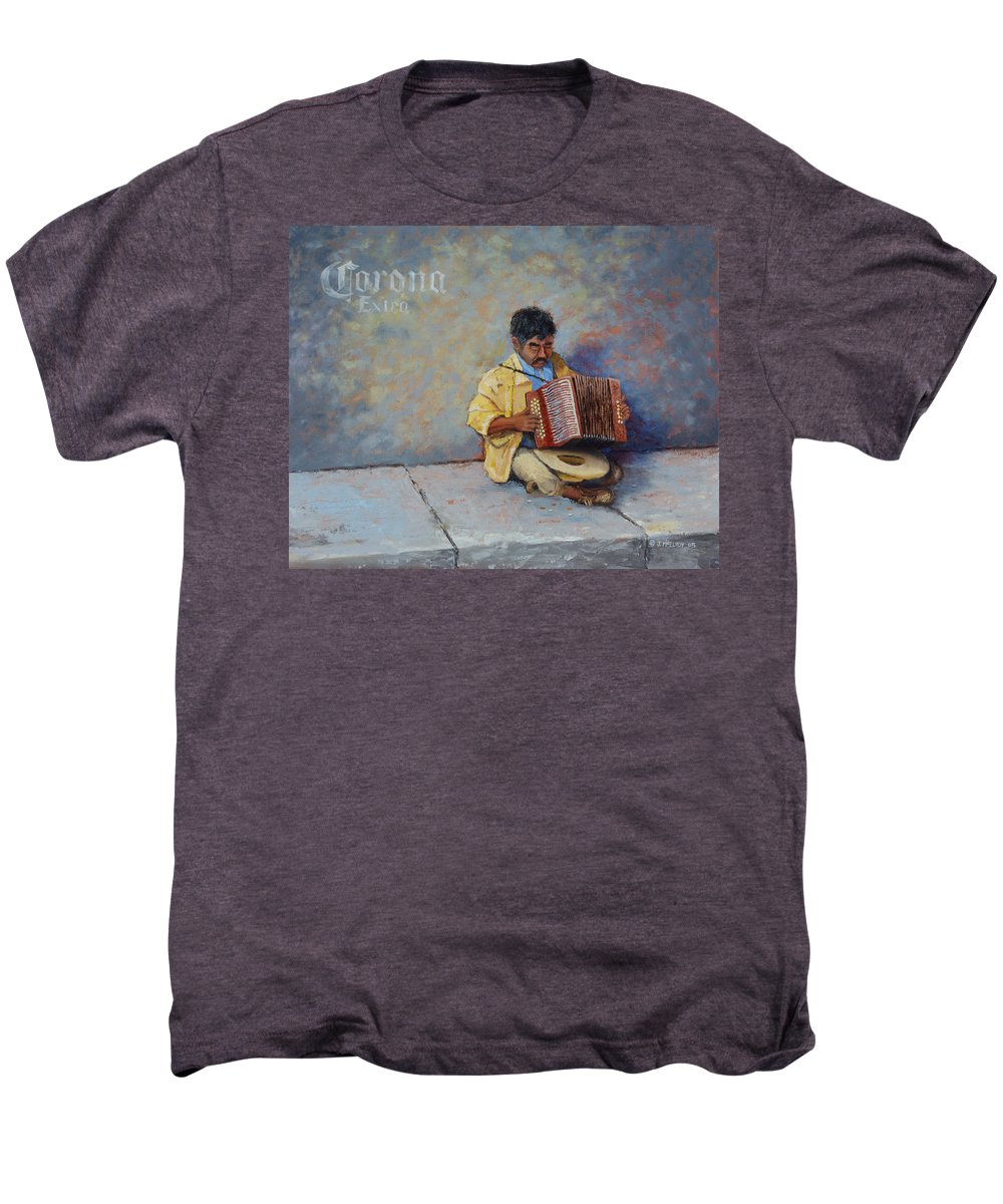 Mexico Men's Premium T-Shirt featuring the painting Playing For Pesos by Jerry McElroy