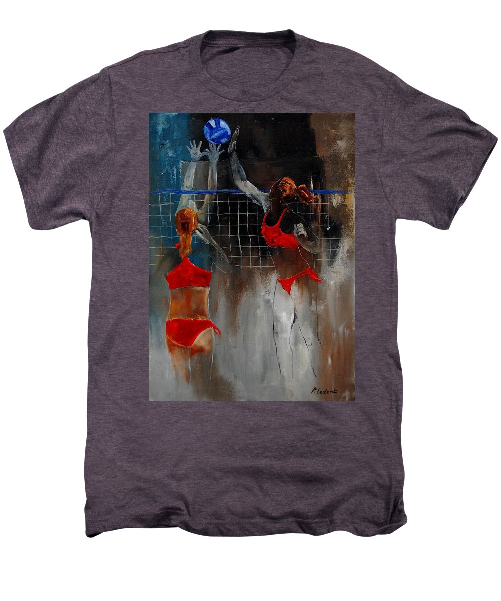 Sport Men's Premium T-Shirt featuring the painting Playing Volley by Pol Ledent