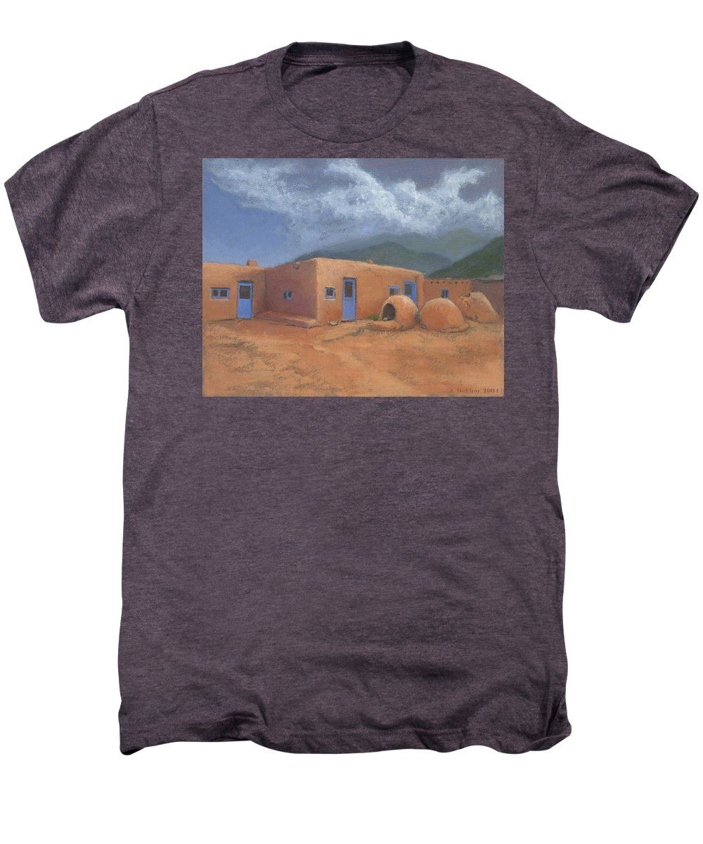 Taos Men's Premium T-Shirt featuring the painting Puertas Azul by Jerry McElroy