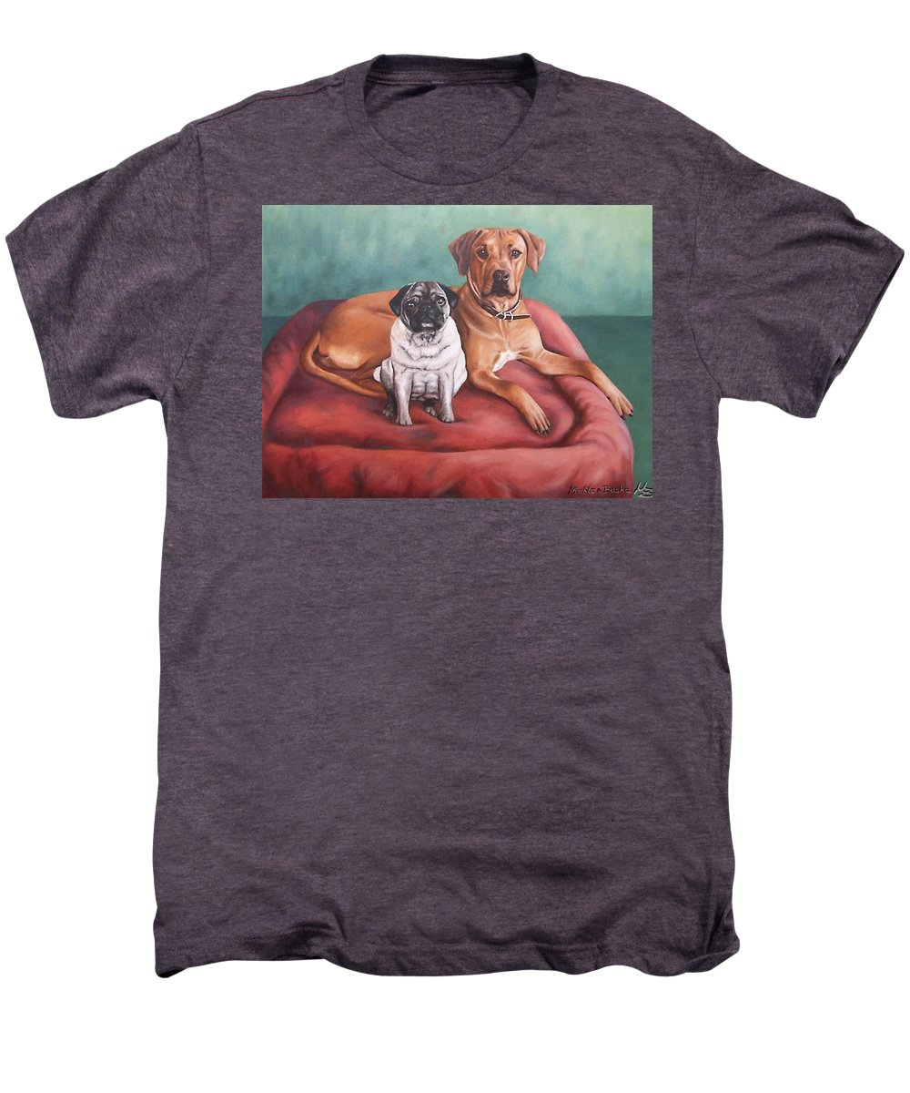Dogs Men's Premium T-Shirt featuring the painting Pug And Rhodesian Ridgeback by Nicole Zeug