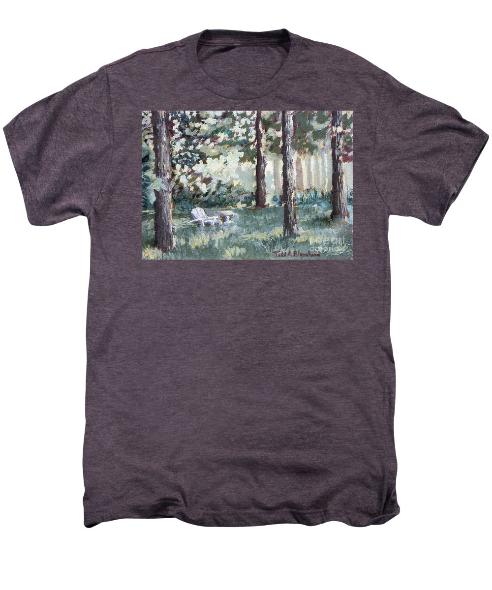 Landscape Men's Premium T-Shirt featuring the painting Quiet Place by Todd A Blanchard