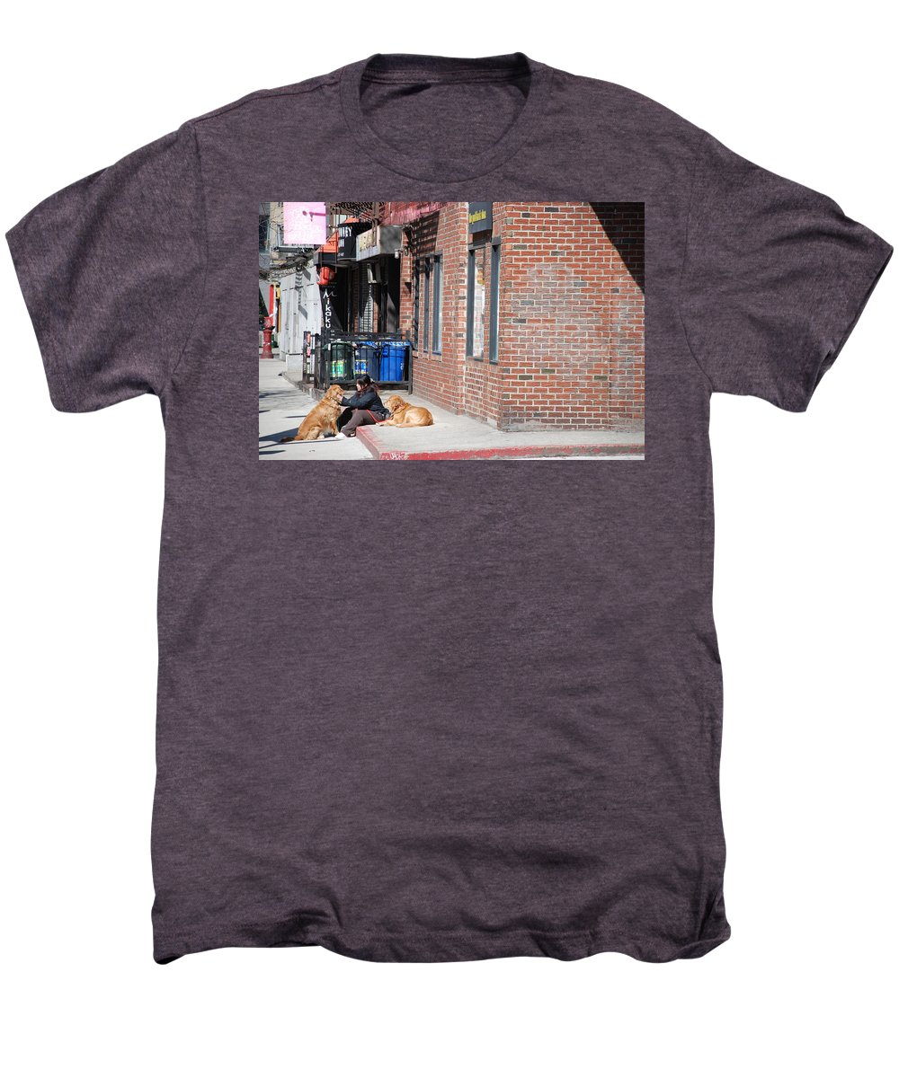 Girl Men's Premium T-Shirt featuring the photograph Resting On The Corner by Rob Hans