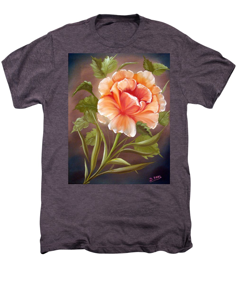 Rose Men's Premium T-Shirt featuring the painting Rose Tropicana by David G Paul