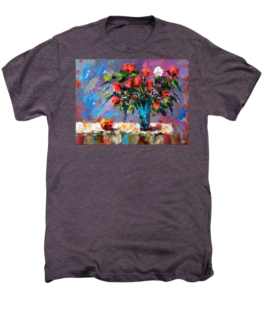 Flowers Men's Premium T-Shirt featuring the painting Roses And A Peach by Debra Hurd