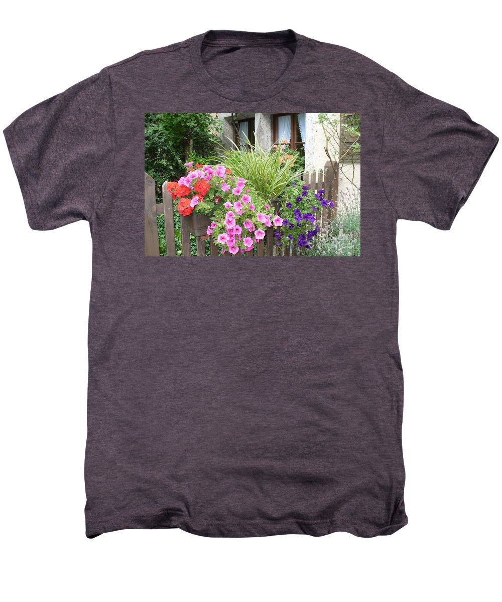Garden Men's Premium T-Shirt featuring the photograph Rothenburg Flower Box by Carol Groenen