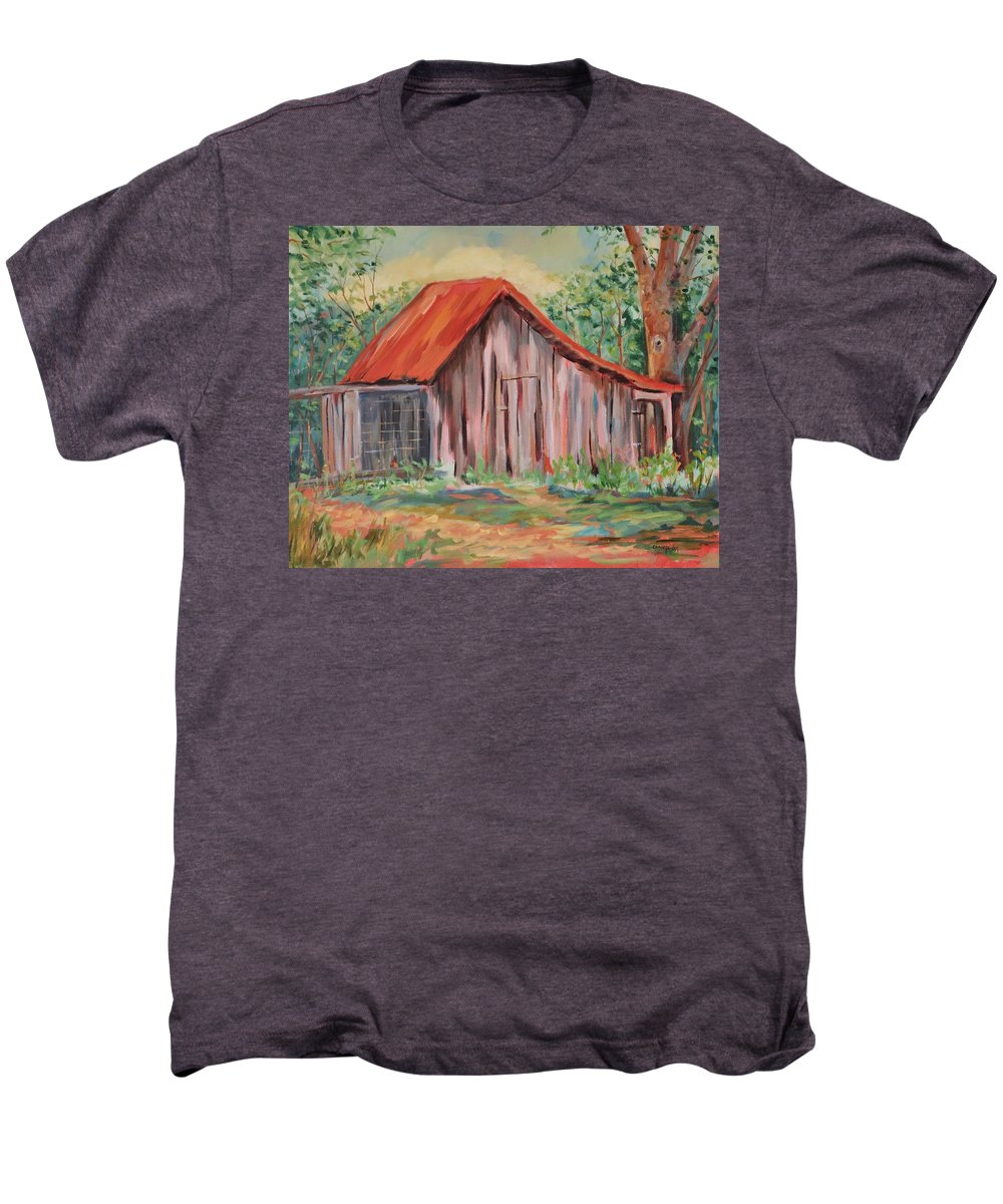 Chicken Coops Men's Premium T-Shirt featuring the painting Russel Crow by Ginger Concepcion