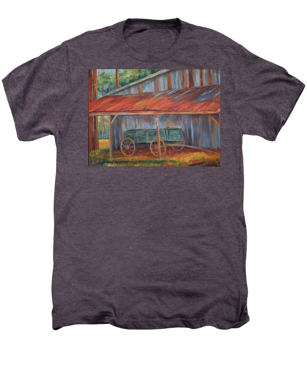 Old Wagons Men's Premium T-Shirt featuring the painting Rustification by Ginger Concepcion