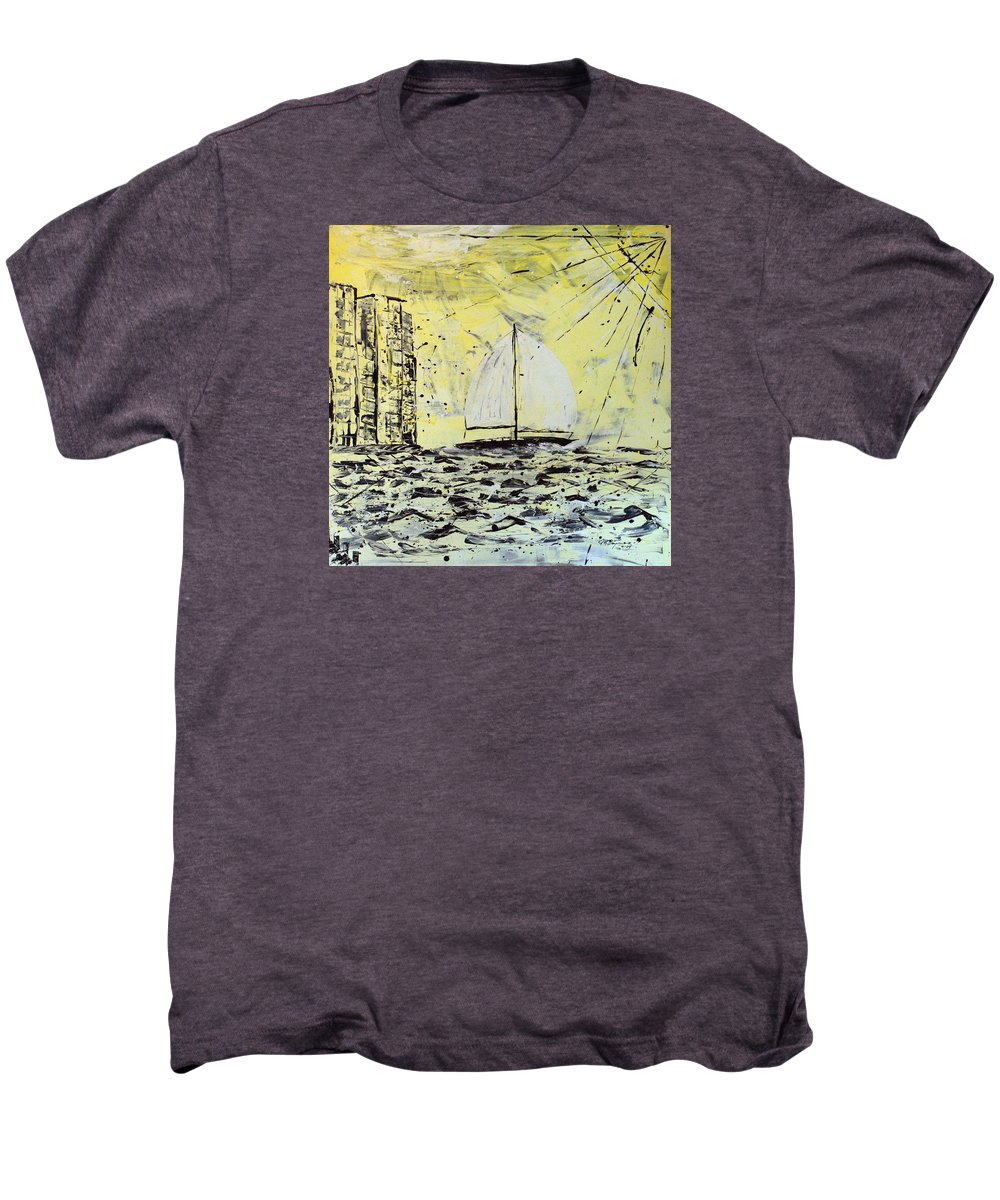 Sailboat With Sunray Men's Premium T-Shirt featuring the painting Sail And Sunrays by J R Seymour