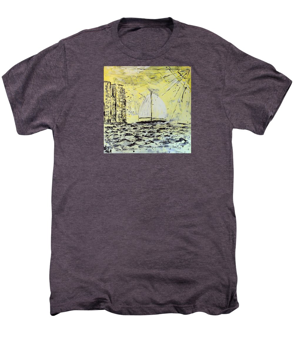 Abstract Men's Premium T-Shirt featuring the painting Sail And Sunrays by J R Seymour