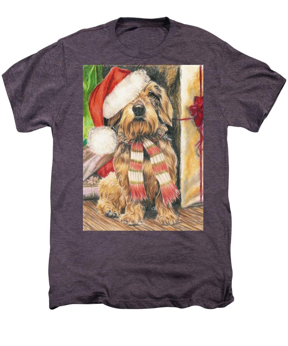 Hound Group Men's Premium T-Shirt featuring the drawing Santas Little Yelper by Barbara Keith